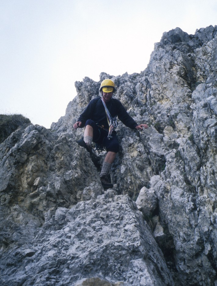 John descending in the Sella Towers