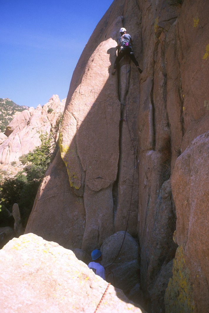 The second pitch (5.8) of Warpaint (the only easy pitch on the route)