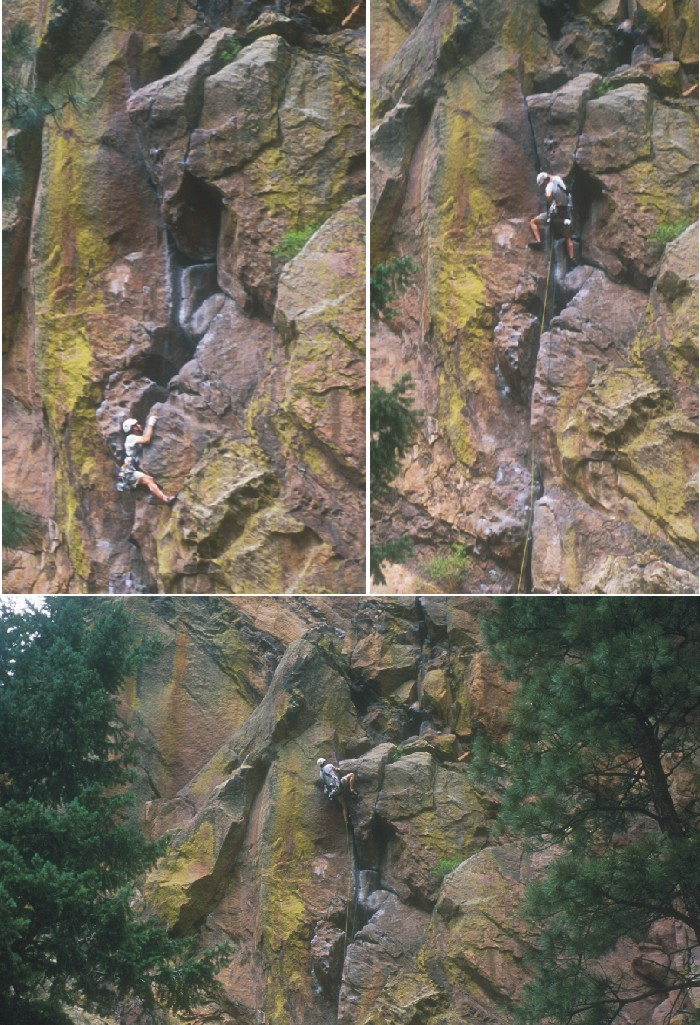 Sequence of pictures showing climbing through the crux of Blind Faith