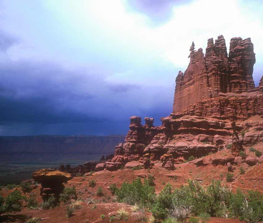 The Ancient Art formation with an approaching storm in the background