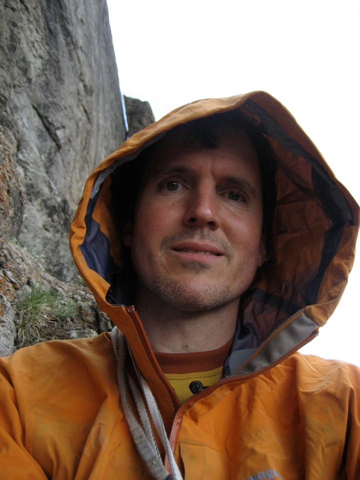 Self portrait, belaying in the rain