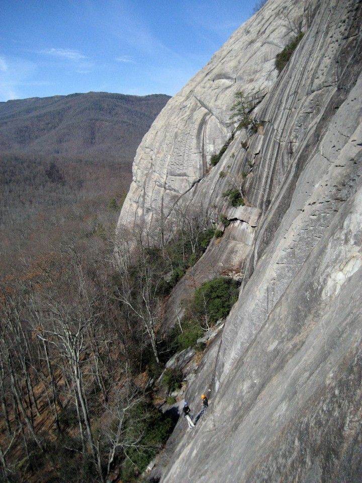 Two climbers at the P1 belay