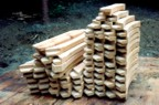 Oak braces stacked and ready for use
