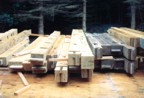 Collection of post and beams before being assembled
