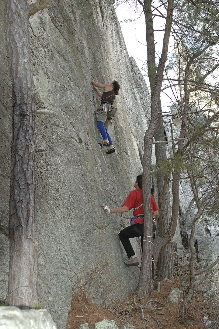 Joe puzzles through the crux moves at the start of High Test