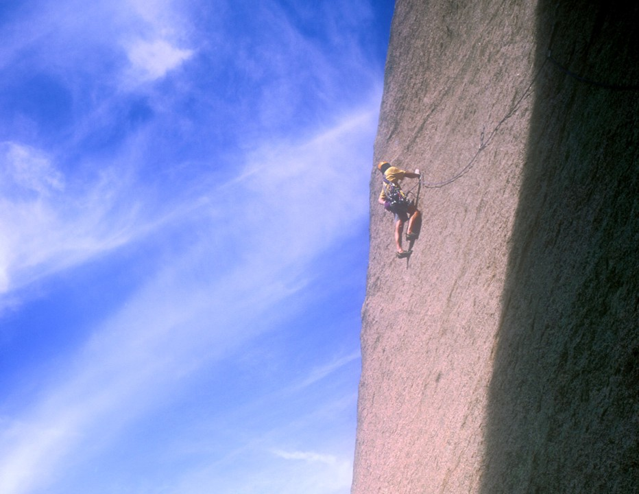 The crux of the route involves traversing on a super thin slab