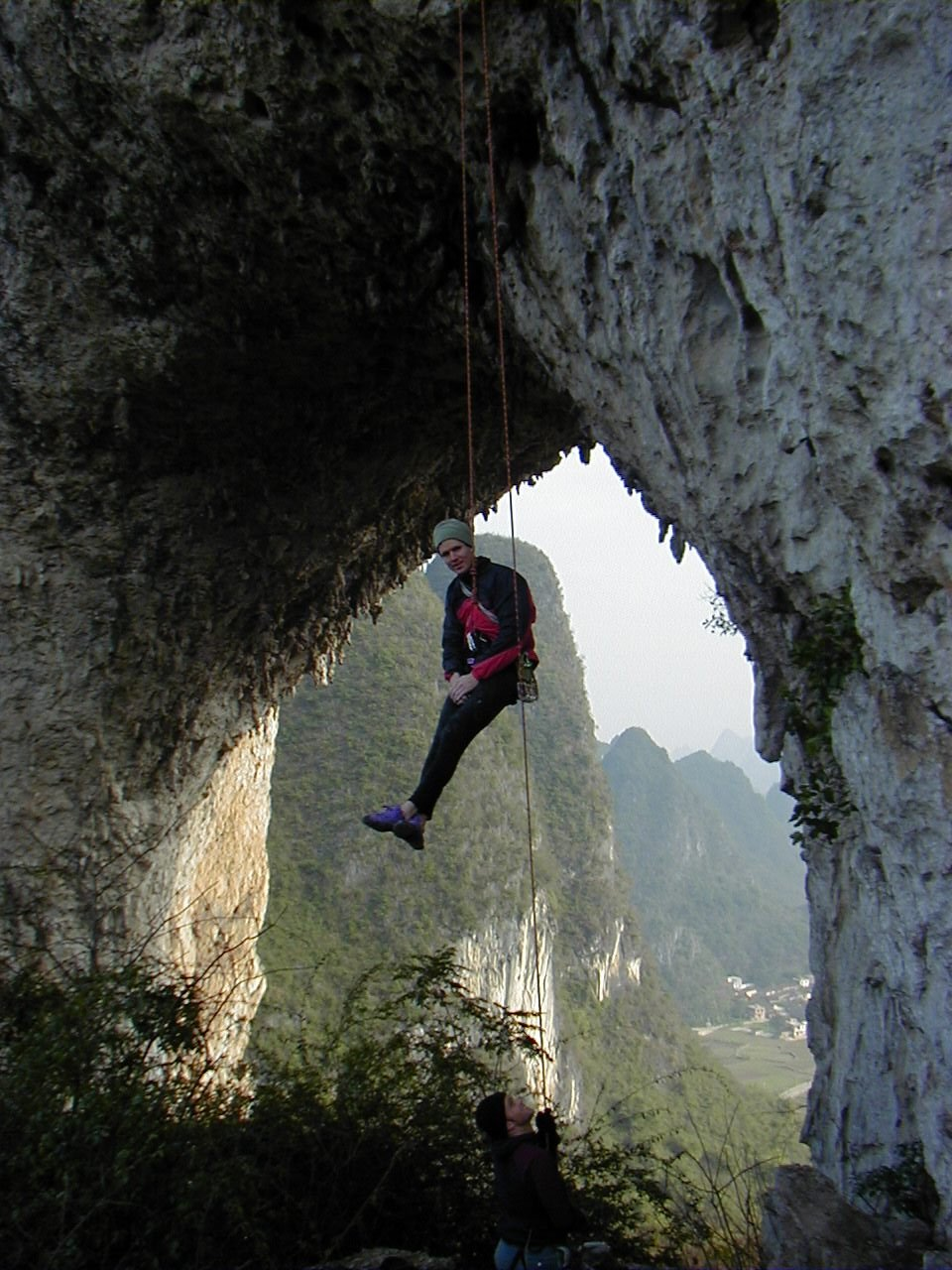 "Jim, lowering through the arch from the ""easiest route at Moon Hill"""