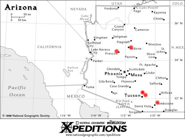 Map of Arizona, Santa Catalina Mountains