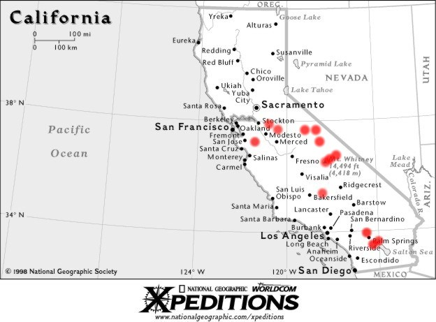 Where Is Mount Whitney On The California Map.Map Of California Mt Whitney