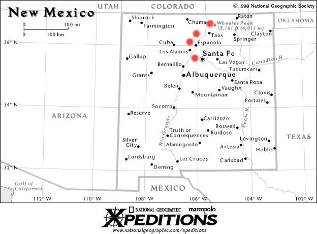Map of New Mexico, Cochiti Mesa