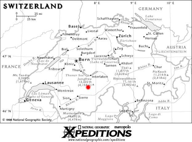 Map Of Switzerland Kandersteg